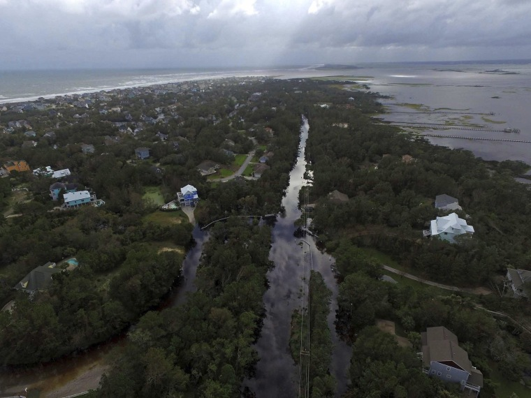 Image: Coast Guard Road leading to the south end of Emerald Isle is seen after Hurricane Florence hit Emerald Isle