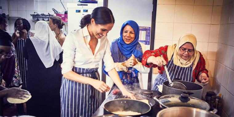 The Duchess of Sussex working with people from Grenfell Tower