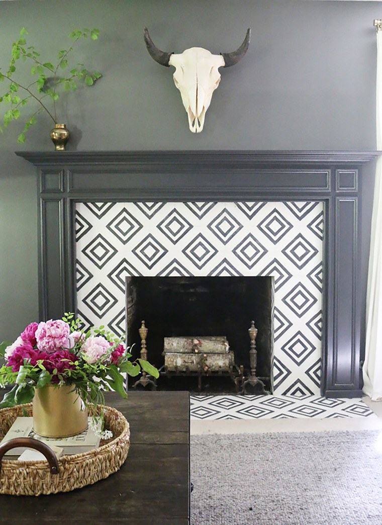 Fireplace before after tile