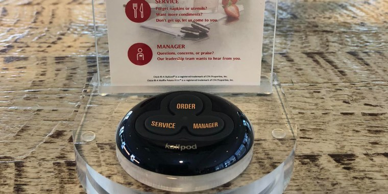Seven Chick-fil-A stores are installing call buttons at tables.