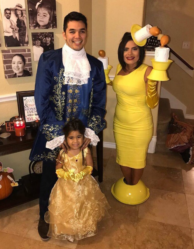 "The Rodriguez family enjoys group costumes. Last year they went as ""Beauty and the Beast."""