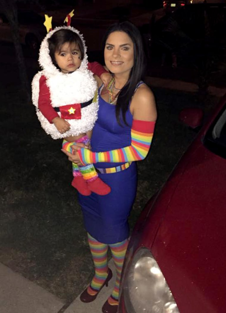 Noraelia Rodriguez uses what she has at home or the dollar store to make costumes for herself and her daughter.
