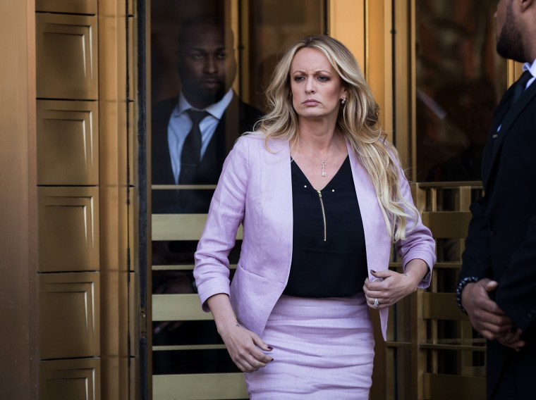 Image: Stormy Daniels exits the U.S. District Court Southern District of New York