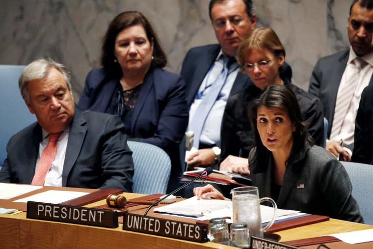 Image: U.S. Ambassador to the United Nations Nikki Haley chairs a meeting of the U.N. Security Council on maintenance of international peace and security at U.N. headquarters in New York