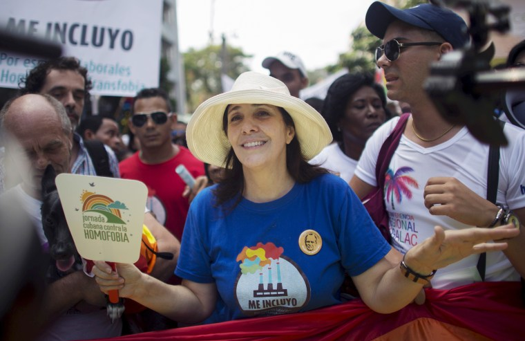 Mariela Castro, sexologist, National Assembly member and daughter of Cuba's President Raul Castro, marches during the Eighth Annual March against Homophobia and Transphobia in Havana