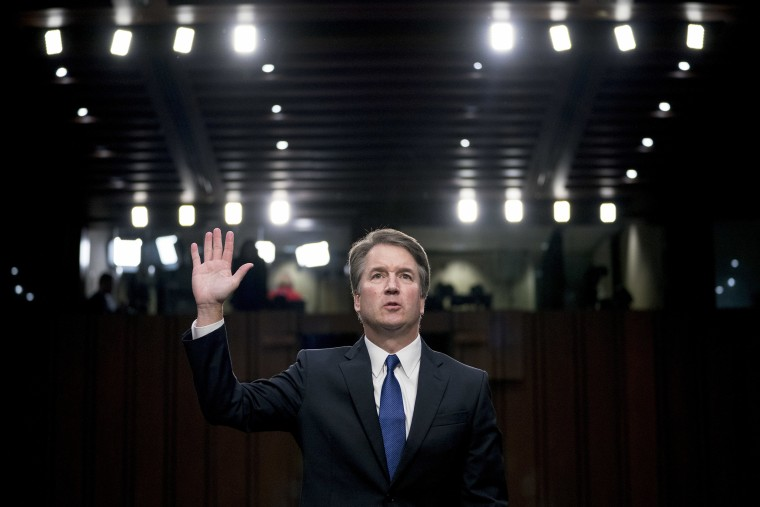 Image: Brett Kavanaugh  is sworn-in before the Senate Judiciary Committee on Capitol Hill