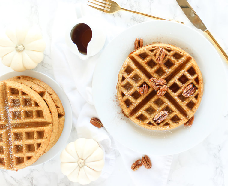 Image: Whole wheat pumpkin waffles from the Lively Table