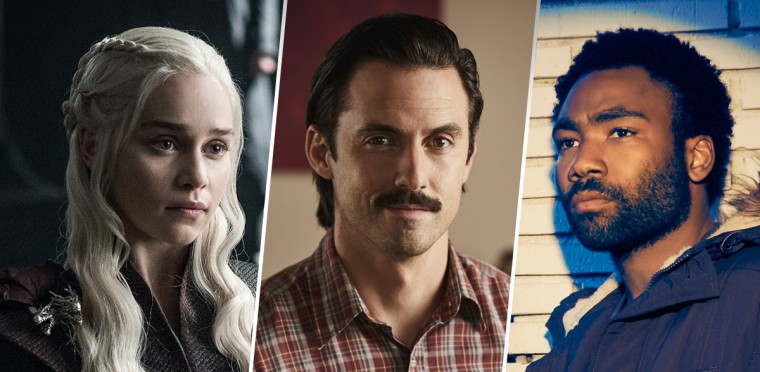 "Emilia Clarke in ""Game of Thrones,"" Milo Ventimiglia in ""This is Us"" and Donald Glover in ""Atlanta."""