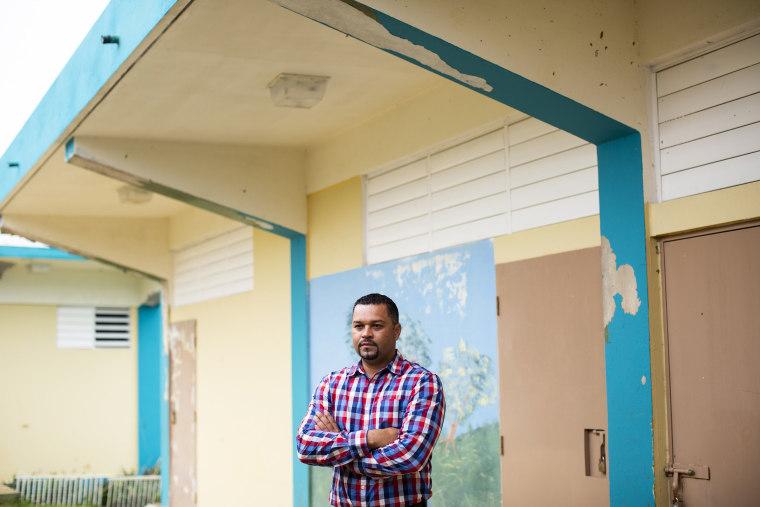 Image: Director Alberto Castillo, 37, at the S.U. Matrullas Elementary School in Orocovis