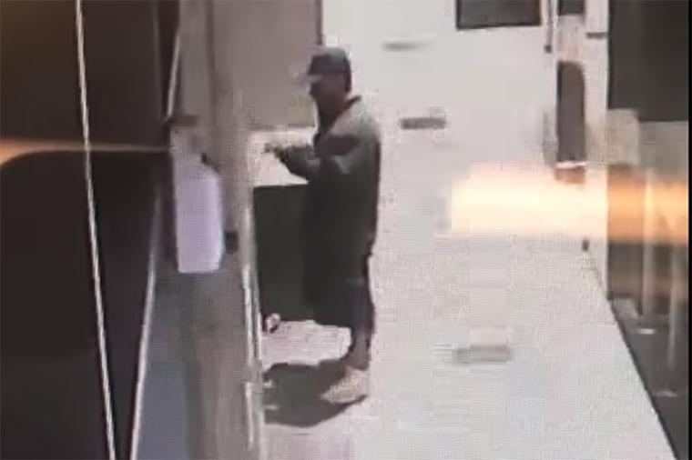 Image: The suspect captured on surveillance vide