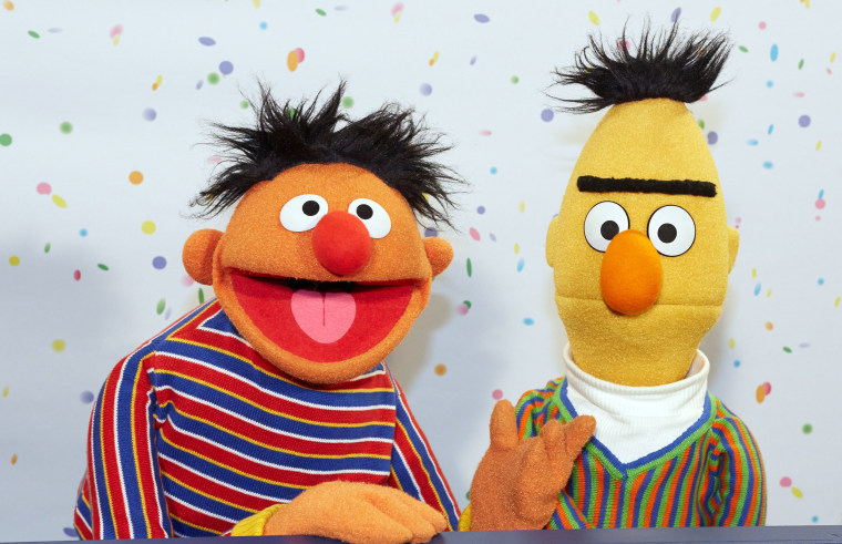 Image: Sesame Street Muppets Ernie and Bert during a press conference on the 40th anniversary of the Sesame Street