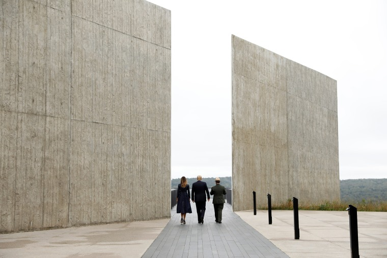 Image: U.S. President Trump and Melania Trump tour the Flight 93 National Memorial near Shanksville, Pennsylvania