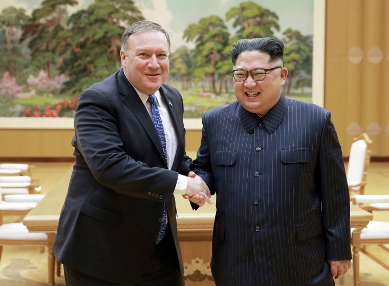 Image: North Korean leader Kim Jong Un shakes hands with U.S. Secretary of State Mike Pompeo