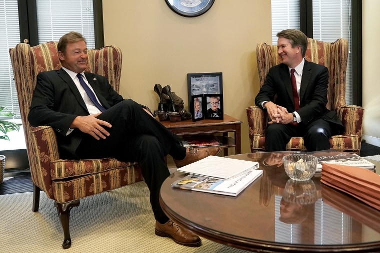 U.S. Sen. Dean Heller (R-NV) meets with Supreme Court nominee Judge Brett Kavanaugh in his office on Capitol Hill July 18, 2018 in Washington, DC.