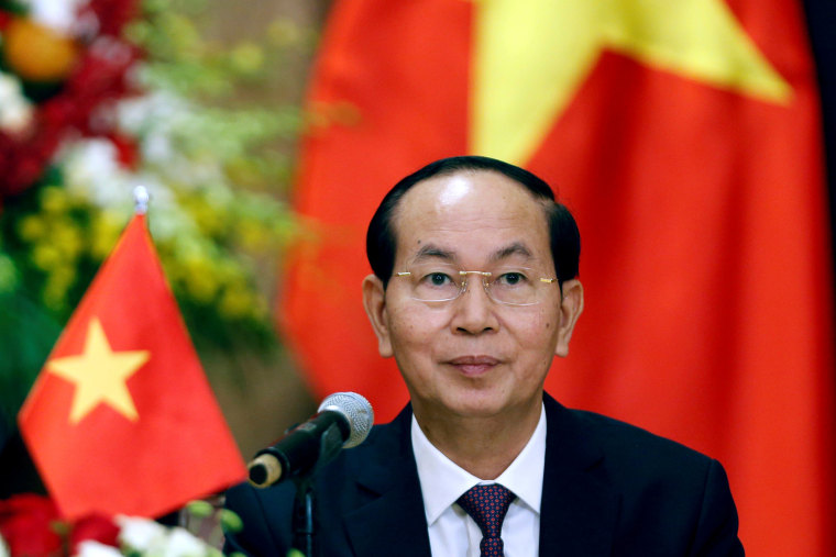 Vietnam's President Tran Dai Quang attends a news conference in Hanoi