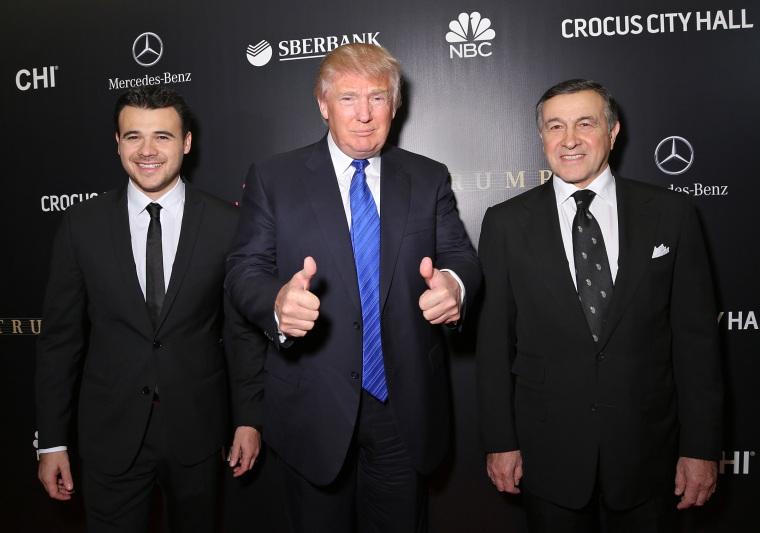 Emin Agalarov, Donald Trump and Aras Agalarov attend the red carpet at Miss Universe Pageant Competition 2013 on Nov. 9, 2013 in Moscow.