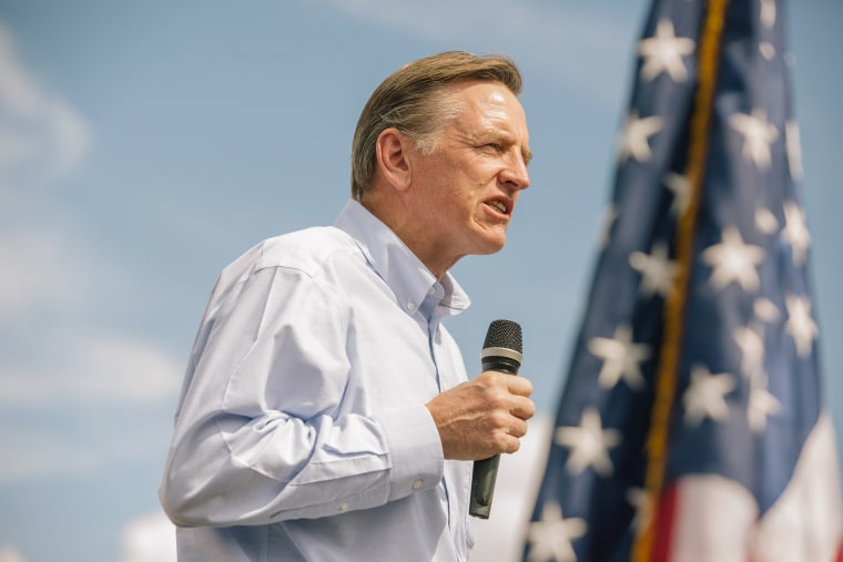 Representative Paul Gosar, a Republican from Arizona, speaks during a 'Road To Victory' bus tour stop with Kelli Ward,