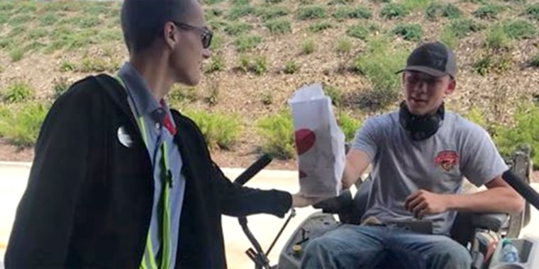 Chick-fil-A served drive thru to man on a lawnmower