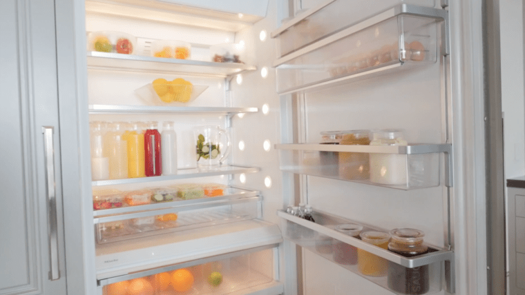 """Heather's """"show"""" fridge is a beautiful study of primary shapes and colors."""