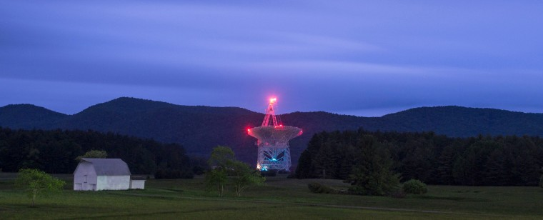The Green Bank Telescope in West Virginia enables scientists to listen to low-level signals from different places in the universe.