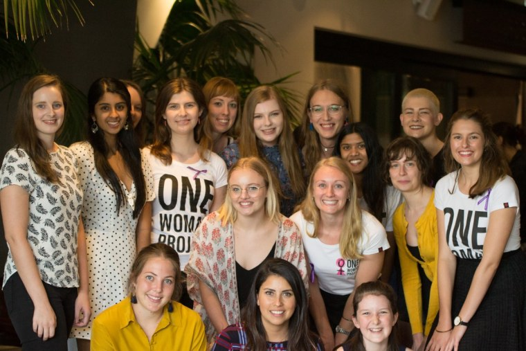 One Woman Project founder, Madeline Price, with her volunteer team in Australia.