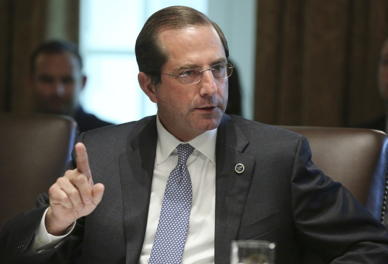Image: Secretary of Health and Humans Services Alex Azar speaks during a cabinet meeting