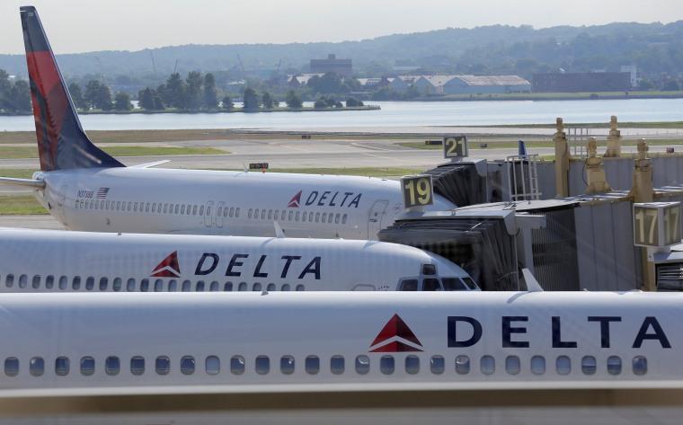 Image: Delta Airlines planes are parked at gates at Ronald Reagan Washington National Airport in Washington