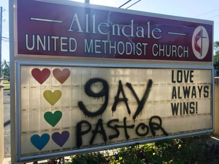 Image: An Allendale United Methodist Church sign was vandalized in St. Petersburg