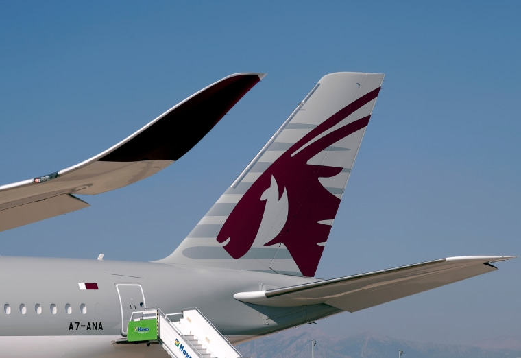 A Qatar Airways Airbus A350-1000  is pictured at the Eurasia Airshow in the Mediterranean resort city of Antalya