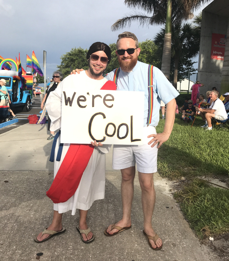 Rev. Andy Oliver, right, at the St. Petersburg Pride Parade with Ben Weger, a transgender man and the music leader of the Allendale United Methodist Church.
