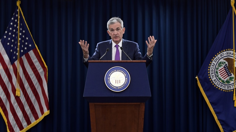 Federal Reserve Chairman Jerome Powell speaks during a news conference in Washington