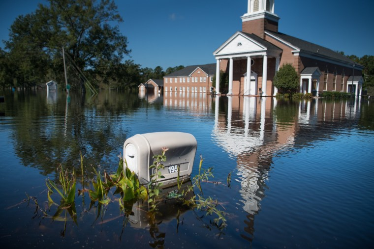 Trinity United Methodist Church is inundated by floodwaters caused by Hurricane Florence near the Crabtree Swamp on Sept. 26, 2018 in Conway, South Carolina.