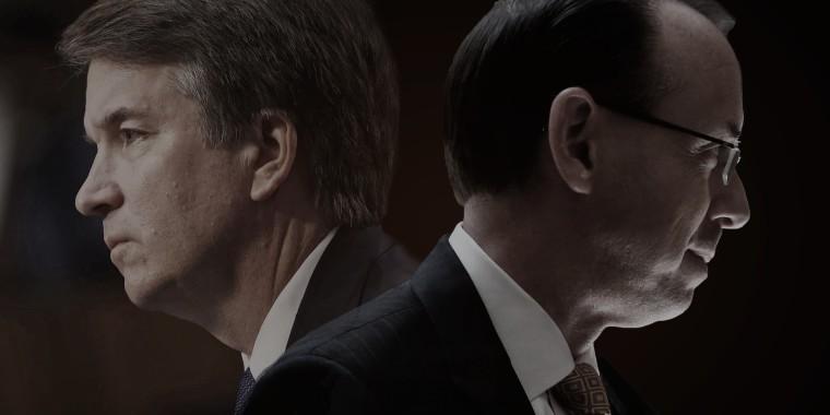 Judge Brett Kavanaugh, left, and U.S. Deputy Attorney General Rod Rosenstein