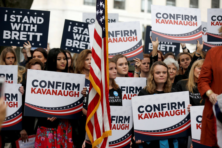 Image: Supporters of U.S. Supreme Court nominee Brett Kavanaugh rally before a hearing where Christine Blasey Ford will testify about an accusation that Kavanaugh had sexually assaulted her in 1982 on Capitol Hill in Washington