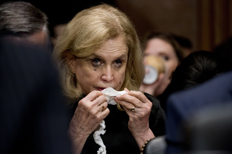 Image: Rep. Carolyn Maloney becomes emotional while listening to Christine Blasey Ford testify