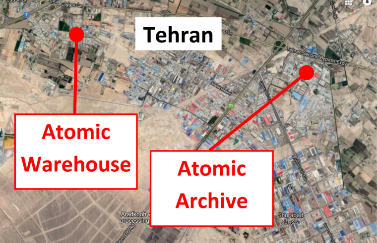 "A map presented by PM Netanyahu at the U.N. General Assembly, which he said shows the location of ""a secret atomic warehouse"" outside Tehran."