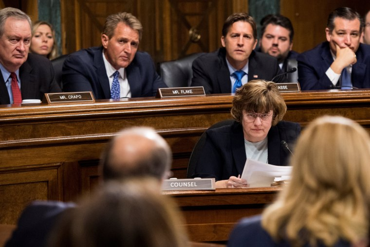 Image: Rachel Mitchell, counsel for Senate Judiciary Committee Republicans, questions Christine Blasey Ford during the Senate Judiciary Committee hearing on Capitol Hill in Washington