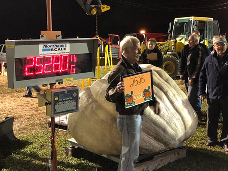 The winner was a pumpkin weighing a U.S. record 2,528 pounds, grown by Steve Geddes, of Boscawen, New Hampshire.