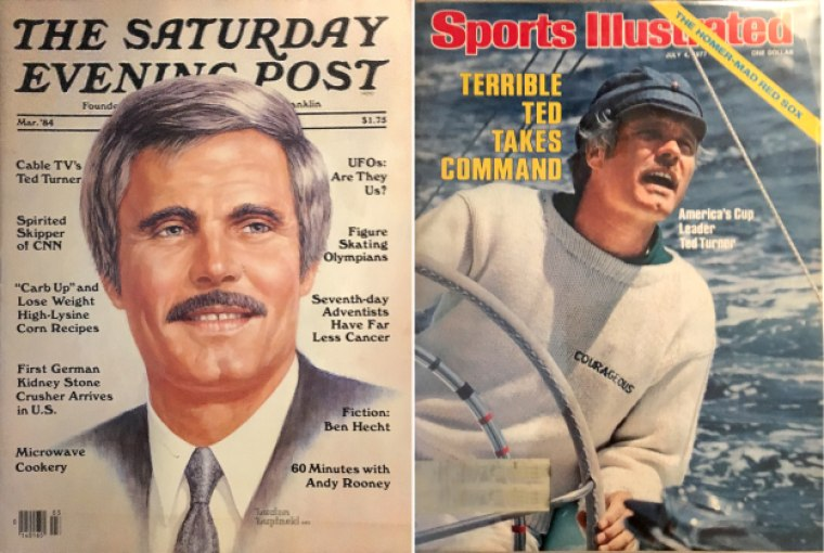 Ted Turner on the covers of The Saturday Evening Post in 1984 and Sports illustrated in 1977.