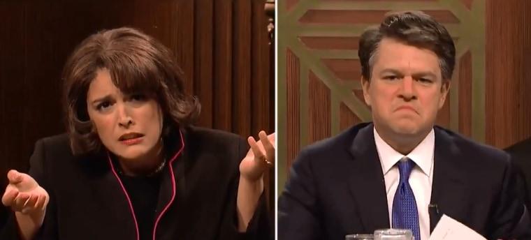 "Diane Feinstein (Cecily Strong) and Brett Kavanaugh (Matt Damon) speak at Senate Judiciary Committee hearing in ""Saturday Night Live's"" cold open."
