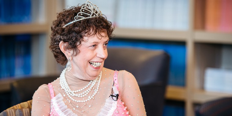 """Sally Graul has lived with metastatic breast cancer for 12 years. She dressed in her \""""princess outfit\"""" to make her last radiation treatment."""