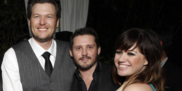 Blake Shelton, Brandon Blackstock and Kelly Clarkson