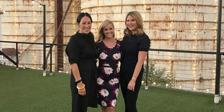 Joanna Gaines, Reese Witherspoon and Jenna Bush Hager, at the event for Witherspoon's new book, Whiskey in a Teacup.