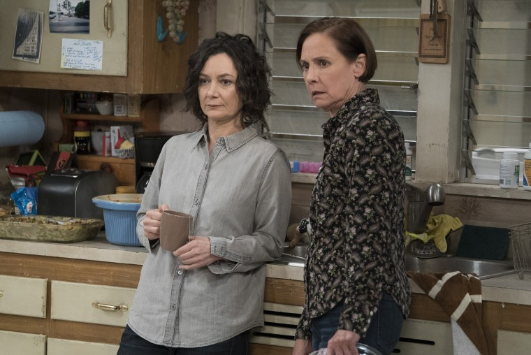 "Sara Gilbert and Laurie Metcalf in ""Roseanne"" spinoff ""The Conners"""