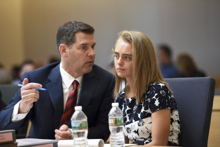 Image: Defense attorney Joseph Cataldo, left, sits with Michelle Carter as the court hears testimony from Dr. Peter Breggin at her trial in Taunton, Massachusetts, June 12, 2017.