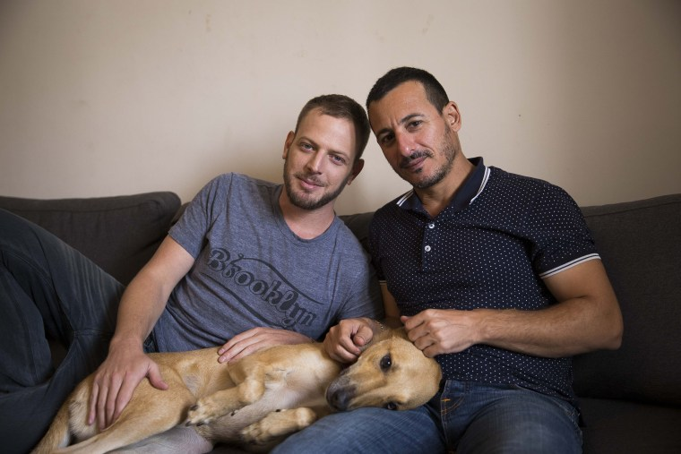 Image: Shimri Segal and his partner Avi Buskila at home in Tel Aviv.