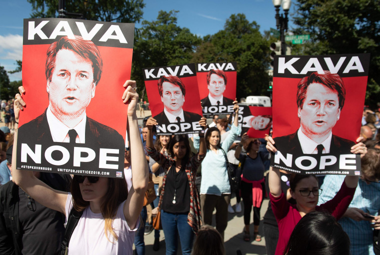 Image: Demonstrators protesting against Judge Brett Kavanaugh's nomination to the Supreme Court