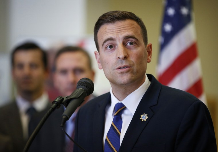 Nevada state Attorney General Adam Paul Laxalt speaks at a news conference in Las Vegas