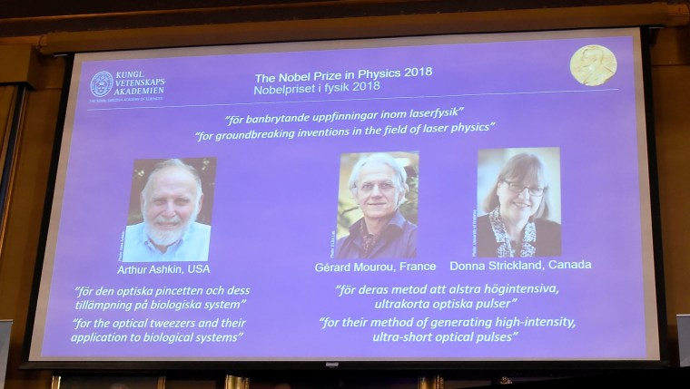 Image: The Nobel Prize laureates for physics 2018 Arthur Ashkin of the United States, Gerard Mourou of France and Donna Strickland of Canada are announced in Stockholm