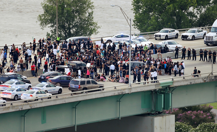 Black Lives Matter protesters gather on the Hernando de Soto Bridge in Memphis on July 10, 2016.